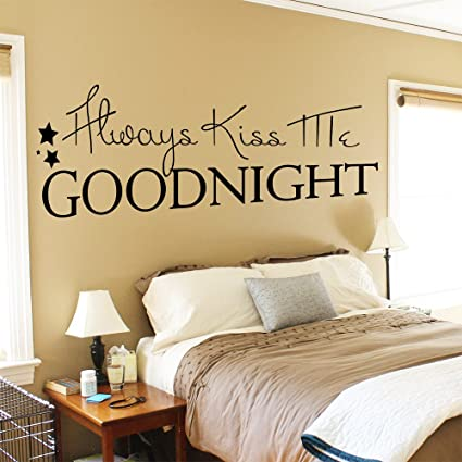 Amazon.com: Wall Decals Quotes Always Kiss Me Goodnight Star Hall ...