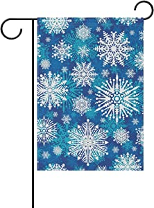 WIHVE Christmas Winter Snowflake Polyester Garden Flag House Banner 12 x 18 inch, Double-Sided Flags Fall Winter Holiday Seasonal Garden Flag Wedding Party Yard Home Outdoor Decor