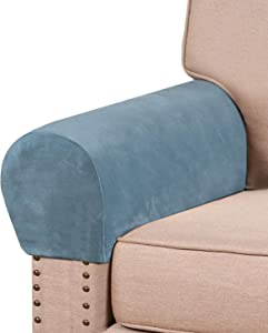 Real Velvet Armrest Covers for Chairs and Sofas Couch Arm Covers for Sofa Thickened Velvet Armrest Covers Anti-Slip Furniture Protector Washable Armchair Slipcovers for Recliner Set of 2, Stone Blue