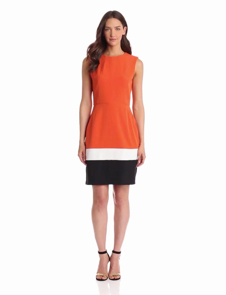 Sandra Darren Womens Extended Shoulder Colorblock Dress