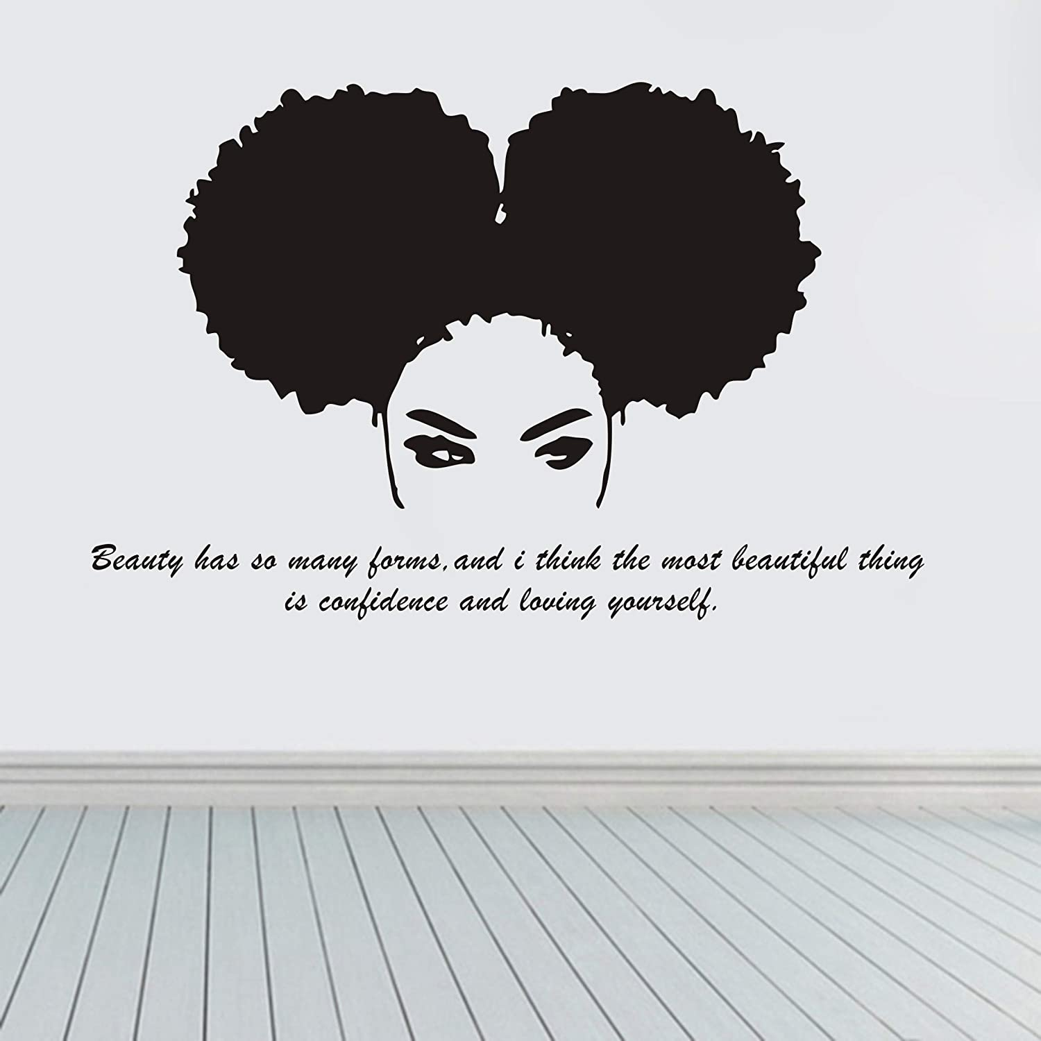 JUEKUI Beautiful Tribal African Woman Wall Sticker Beauty Salon Africa Girl Decal Quote Home Decor Bedroom Living Room Stickers WS72 (Black)
