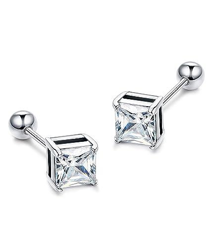 13e55310a1d3b LOYALLOOK 925 Sterling Silver Cartilage Stud Earrings For Women Girls  Square CZ Screw Back Tragus Helix Earring Piercing Jewelry 3-6MM