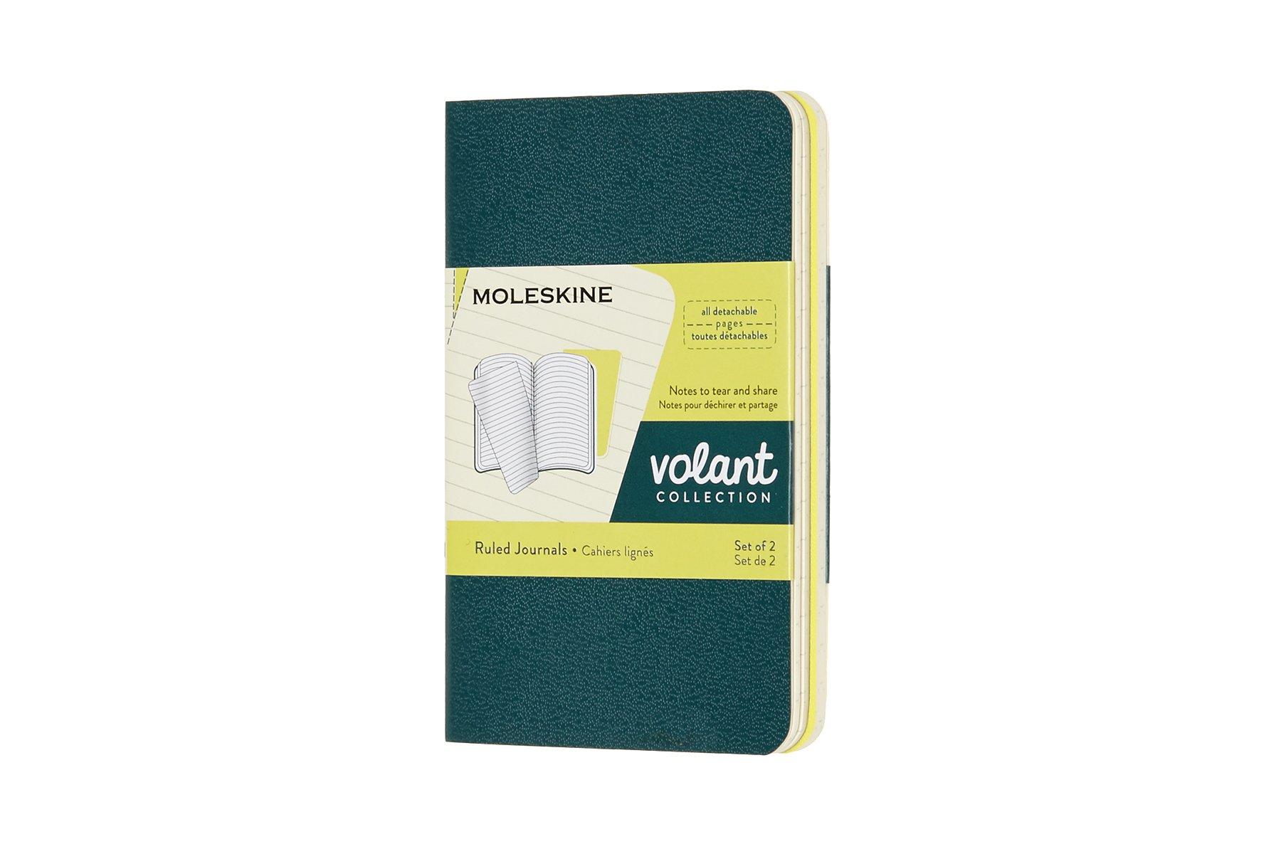 Moleskine Volant Journal, XS, Ruled, Pine Green/Lemon Yellow
