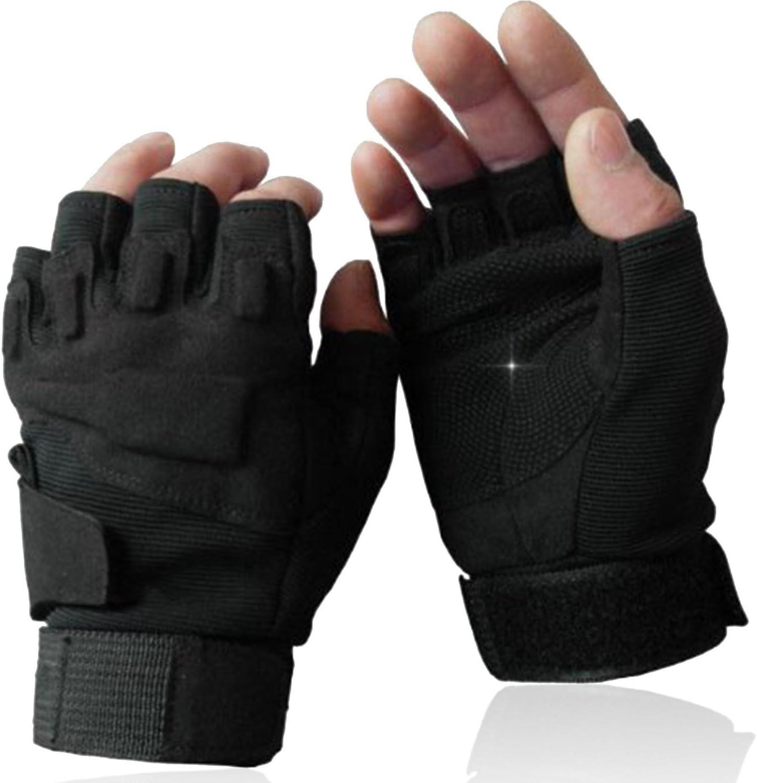Operaciones especiales militares OMGAI medio dedo guantes sin dedos táctico asalto luz medio dedo guantes Airsoft caza Riding guantes de ciclismo deportes al aire libre sin ejército disparando (negro) guantes HALF Talla:XL: