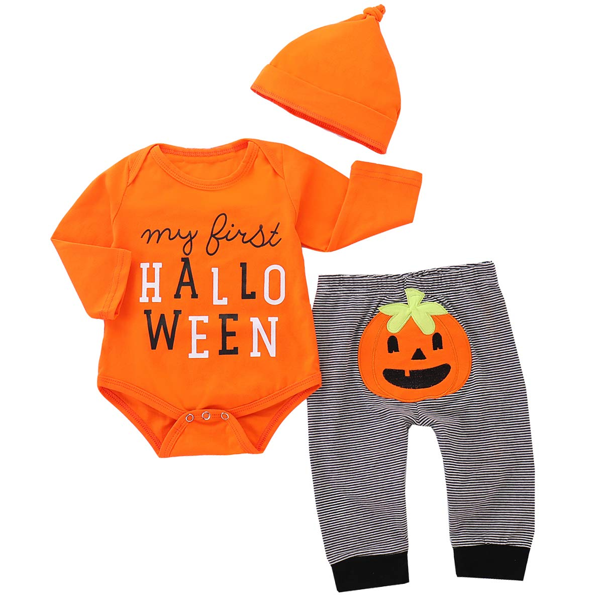 Baby Halloween Pumpkin.3pcs Set Baby Halloween Pumpkin Outfits My First Halloween Romper Trousers Cap Fashion Baby Clothes For 0 18 Months Buy Online In India At Desertcart In Productid 156124801