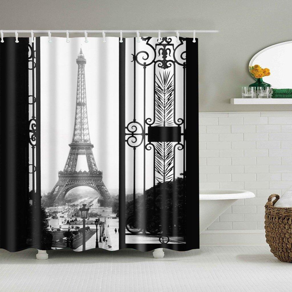 Tebatu Shower Curtains 12 Hooks, Eiffel Tower Paris Pattern Shower Curtain Bathroom Decor 71x71