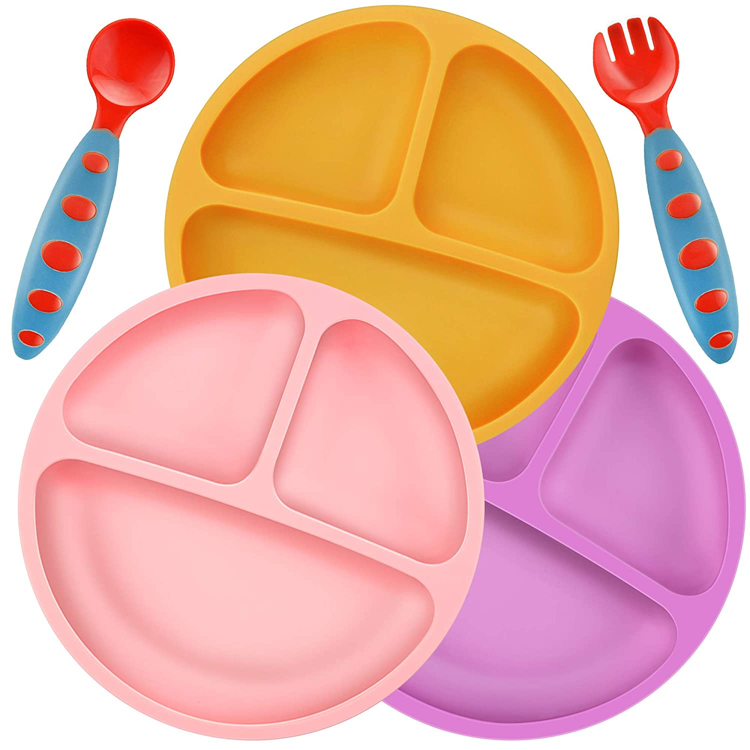 PandaEar Divided Unbreakable Silicone Baby and Toddler Plates - 3 Pack - Non-Slip - Dishwasher and Microwave Safe - FDA/LFGB Certified Silicone Pink Purple Yellow