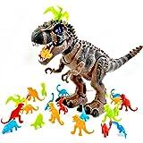 T-Rex Dinosaur Bundle!! 26 PCS. Dinosaur Set ! - Predator Vs. Prey Life-like and Educational Dinosaurs. For Boys and Girls Toys Dinosaur. Tyrannosaurus Rex LIGHTS UP, WALKS AND ROARS!!!!