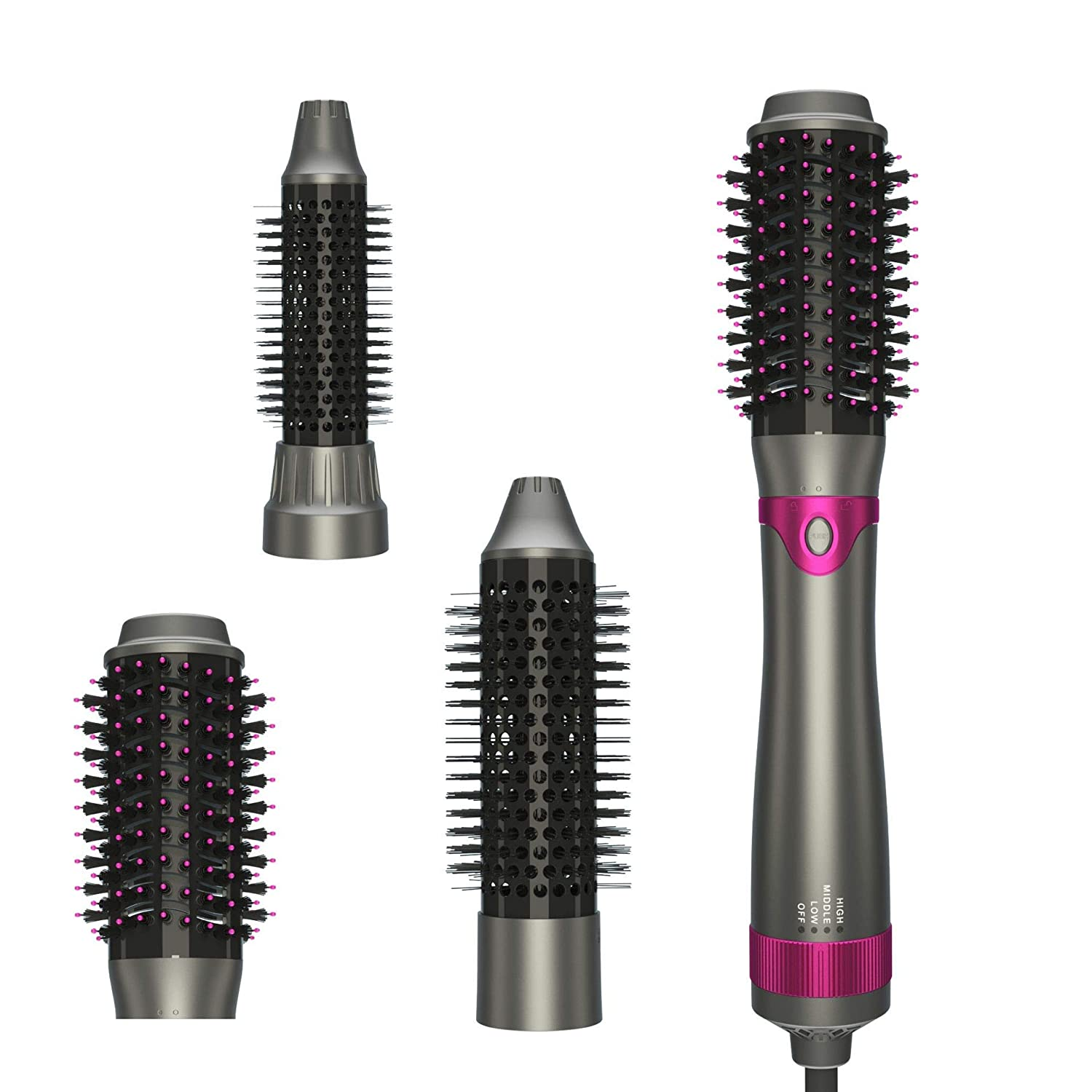Hot Air Brush, Hair Dryer Brush, One Step Hair Dryer & Volumizer, Curler Combo with Interchangeable Brush Head, Anti-scald Negative Ion Hair Straightener Brush, Low Noise Design