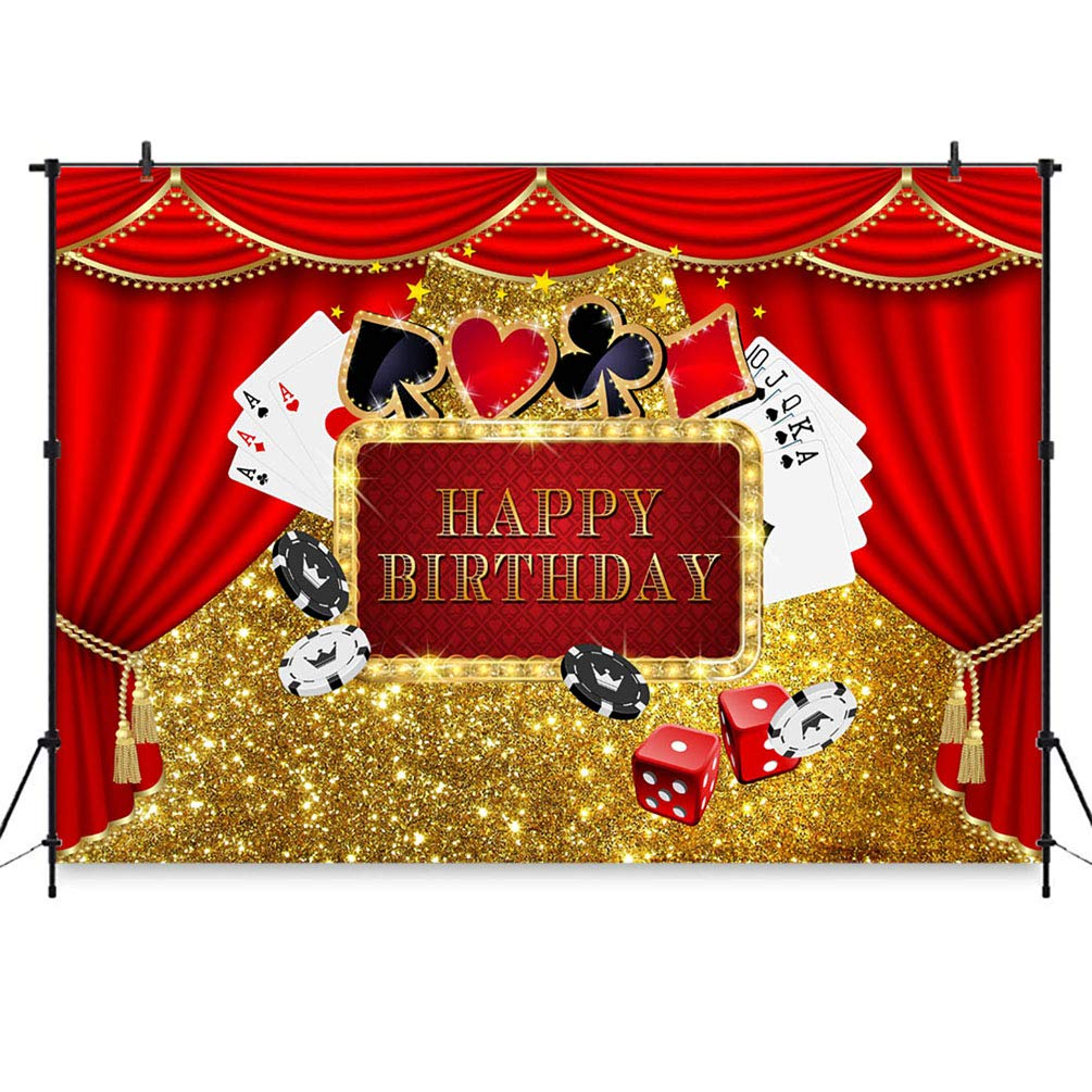 Amazon.com: COMOPHOTO Casino Tema cumpleaños fondo de ...