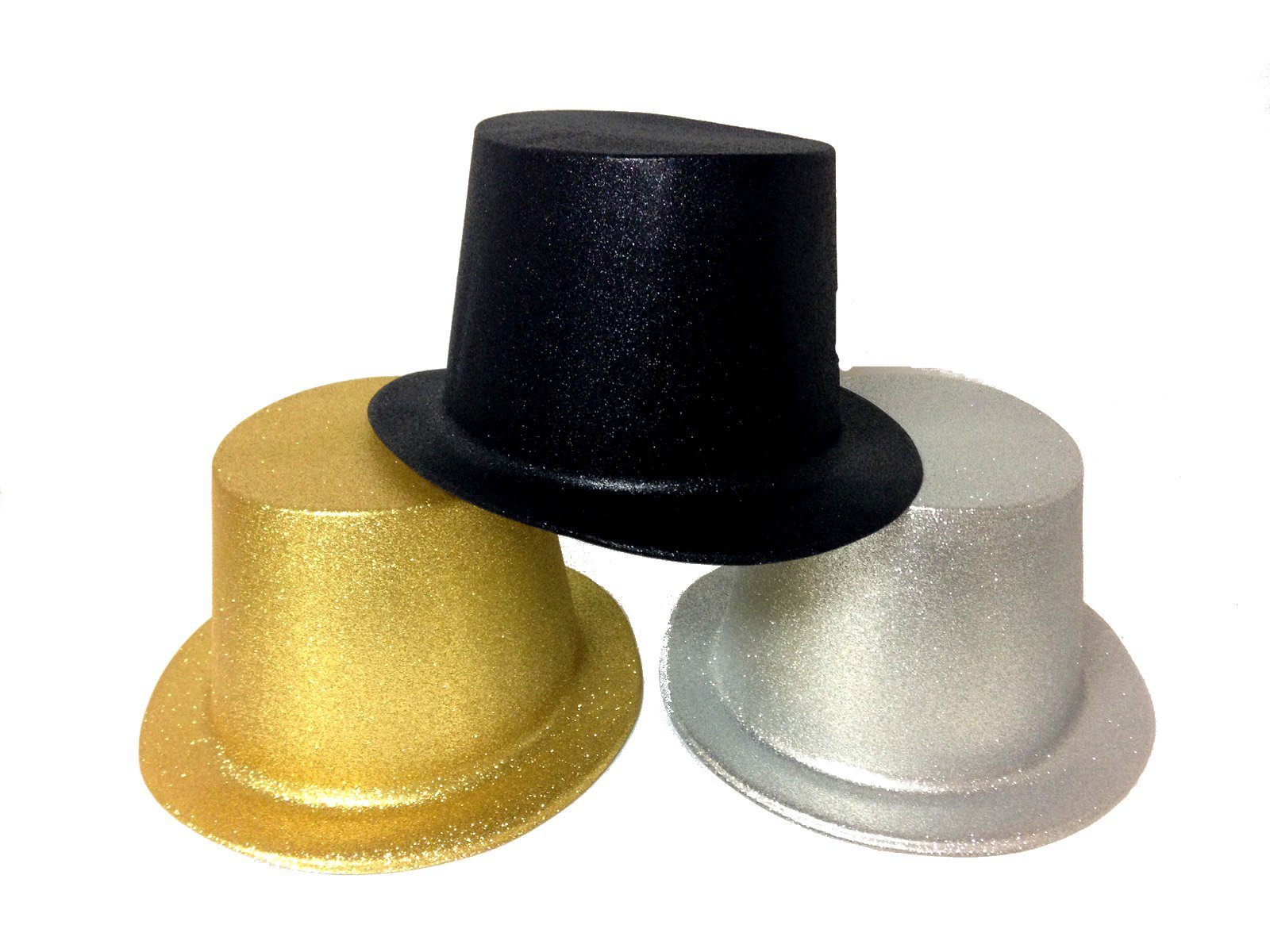 Glitter Top Hats in Gold/Silver/Black for Adults Lot of 12 Hats