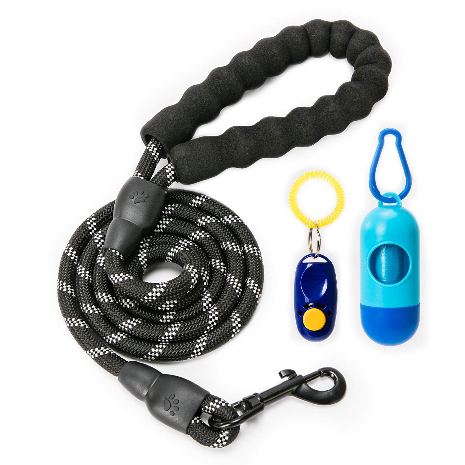 YiPet 5 ft Strong Dog Leash Comfortable Padded Handle Highly Reflective Threads for Medium Large Dogs£¬ Black