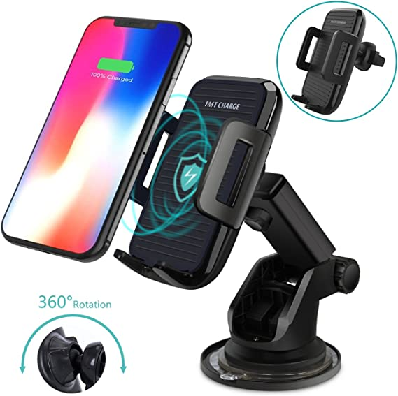 ANKIA Wireless Charger Car Phone Mount,One-Touch Design Qi Fast Charging Car Mount with Air Vent Phone Holder for Qi Enabled Devices,Samsung Galaxy S8 S7//S7 Edge,Note 8 5,iPhone 8//8plus//X//XR//XS//XS Max 4351534604