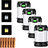 Antowin 4 Pack Camping Lantern with 3 LED Modes(White, Warm, Mixture Light), Powered by AA or AAA Batteries for Camping, Hunting and BBQ (Battery Included, 100 lumens)
