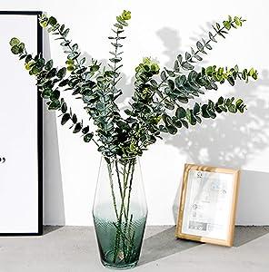 Yesier Artificial Silver Dollar Silk Eucalyptus Leaf Spray Fake Greenery for Garden Wedding Home Outdoors Decorations (3 Pack)