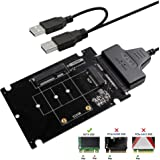 QNINE M.2 or MSATA to USB or SATA 3.0 Adapter 2-in-1 Converter Reader Card with Cable Support Mini SATA or Ngff B Key SSD