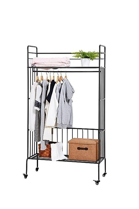 Genial NEUN WELTEN Classics Rolling Wardrobe Closet Organizer System Rack  39.4u0026quot; L X 16.5u0026quot; W