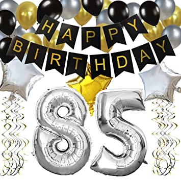 KUNGYO Classy 85TH Birthday Party Decorations Kit Black Happy Brithday BannerSilver 85 Mylar
