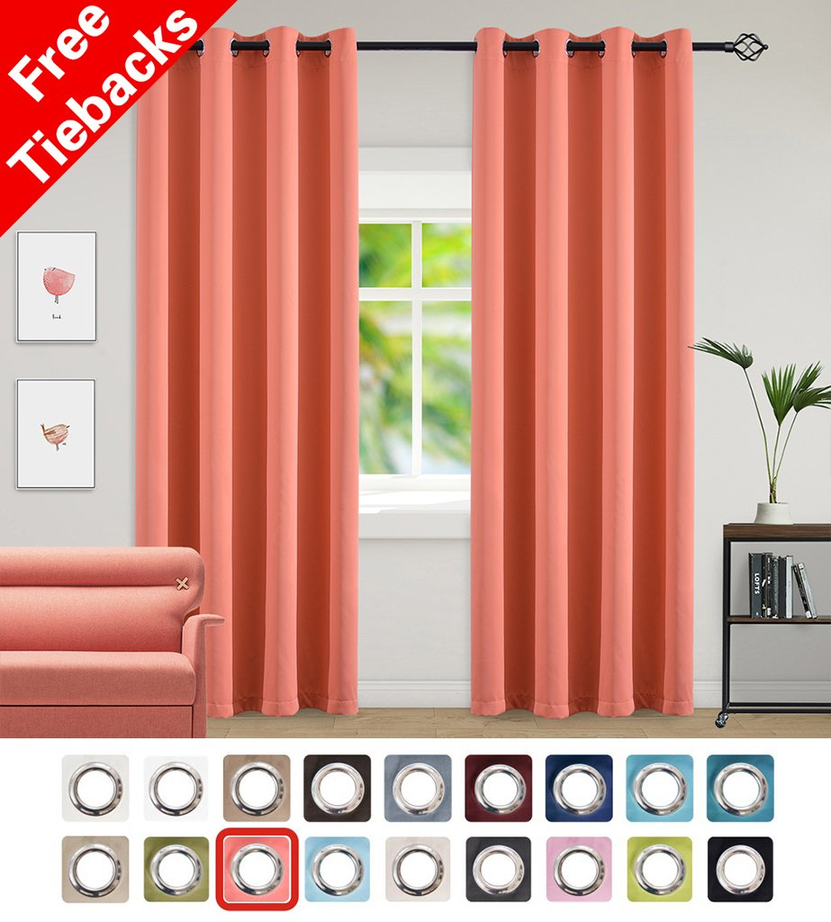 Yakamok Light Blocking Darkening Thermal Insulated Blackout Curtains Solid Grommet Top Window Draperies