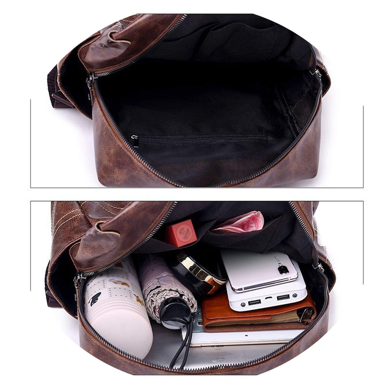 Soft Leather Backpack Vintage Fe Students Bag Large Backpacks Multifunction Travel Bags