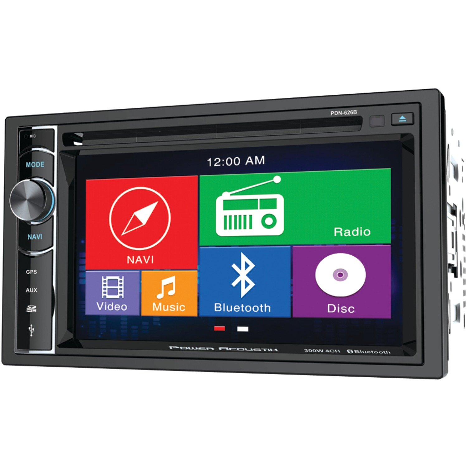 Amazon.com: Power Acoustik PDN 626B Double Din AM/FM/DVD/BT 6.2-Inch with  Navigation: Electronics