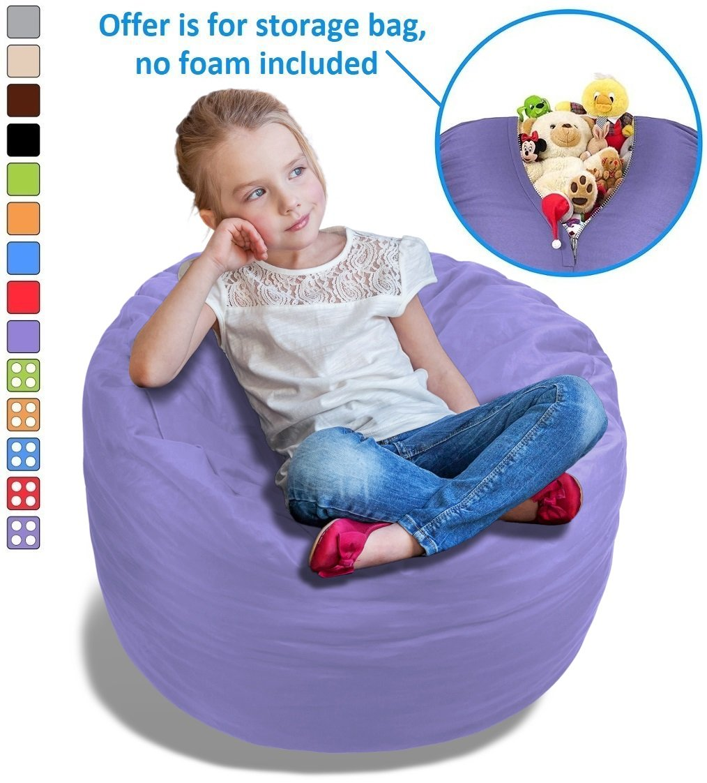 Stuffed Animal Bean Bag Storage Chair in Orchid Purple - 2.5ft Large Fill & Chill Space Saving Toy Organizer for Children - For Blankets, Teddy Bears, Clothes & Bedding