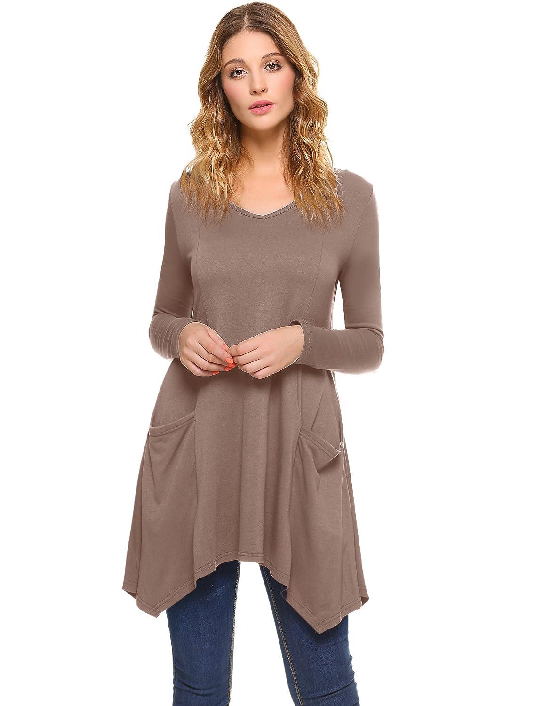 Tunika Damen Langarm Elegant Casual V-Ausschnitt Asymmetrische Saum T-Shirt für zu Leggins und Jeans Passt mit Taschen