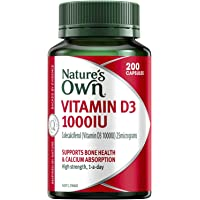 Nature's Own Vitamin D3 1000IU - Aids Calcium Absorption - Supports Healthy Bones and Muscles - Maintains Wellbeing, 200 Capsules