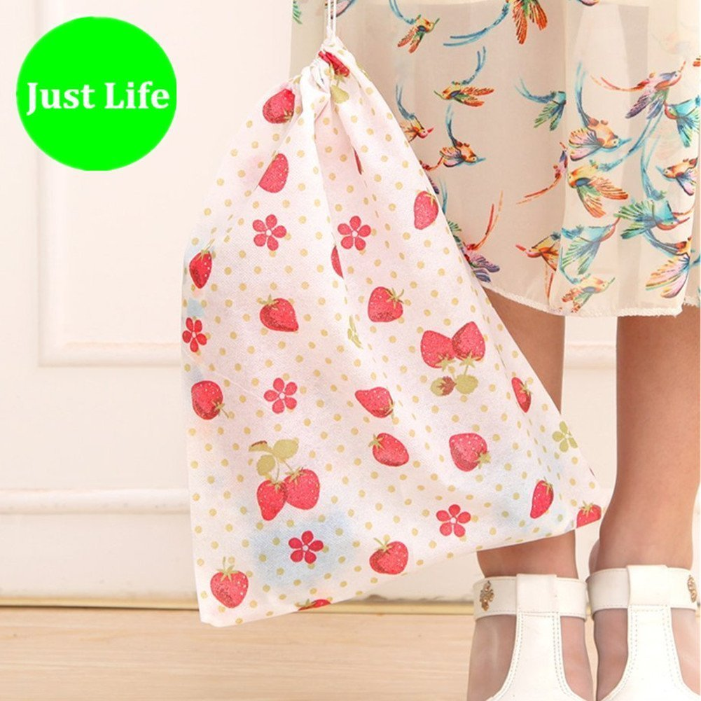 12pcs Colorful Portable Non-Woven Drawstring Shoe Bags Space Saving Storage Bags Best for Travel Carrying Random Color