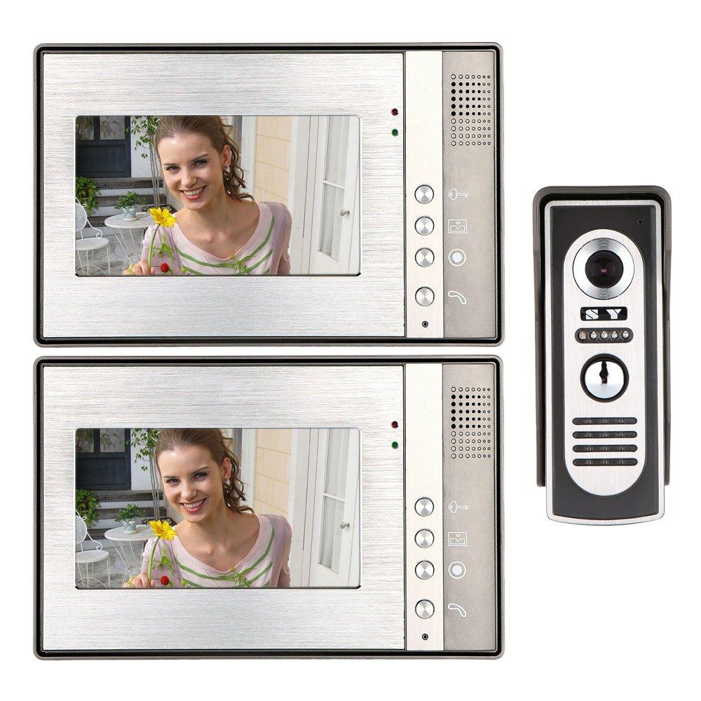 KKmoon 7 Inch Video Door Phone Doorbell Intercom Kit 1-camera 2-monitor Night Vision