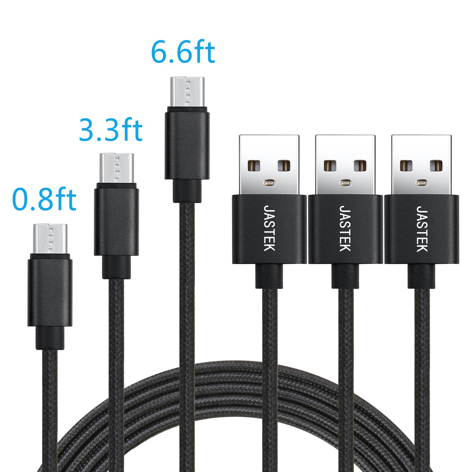 JASTEK Micro USB Cable 3Pack (0.8ft, 3.3ft, 6ft) Durable Nylon Braided High Speed 2A Current Charging Cables for Android, Samsung, Sony, Huawei, HTC, Nokia, LG, Nexus and other Smartphones - Black