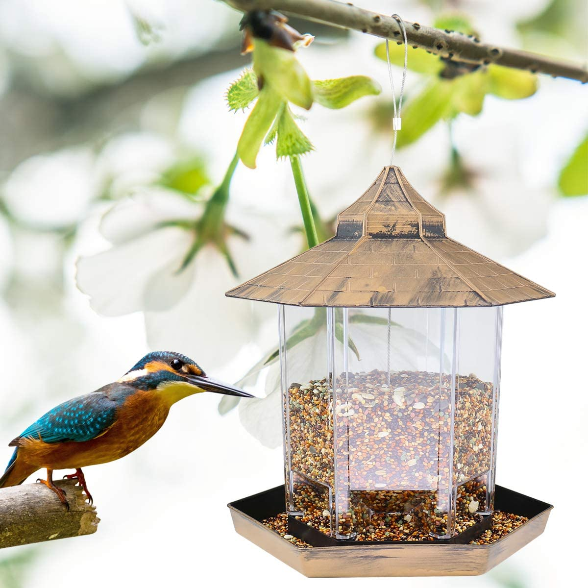 Wild Bird Feeder Hanging Hexagon Shaped with Roof Home Garden Yard Outside Decor