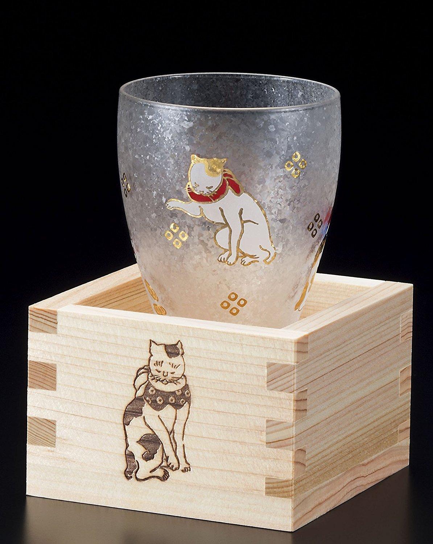 ADERIA日本Edo猫( Cat ) Masuzakeガラス( Japanese Sake Glass ) W / MasuボックスCute Cats実り