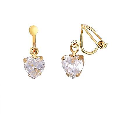 74859edcfdbf Swarovski Crystal Heart Clip-on Earrings - Women s Gold Plated Drop Earrings  Made From Heart Shaped Swarovski Crystals - Presented in a Luxury Giftbox   LJ ...