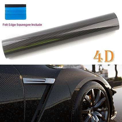 60 x 12 // 5FT x 1FT PEATOP Carbon Fiber Vinyl Wrap High Gloss Bubble Free Air Release 4D Texture Sheet Roll Film