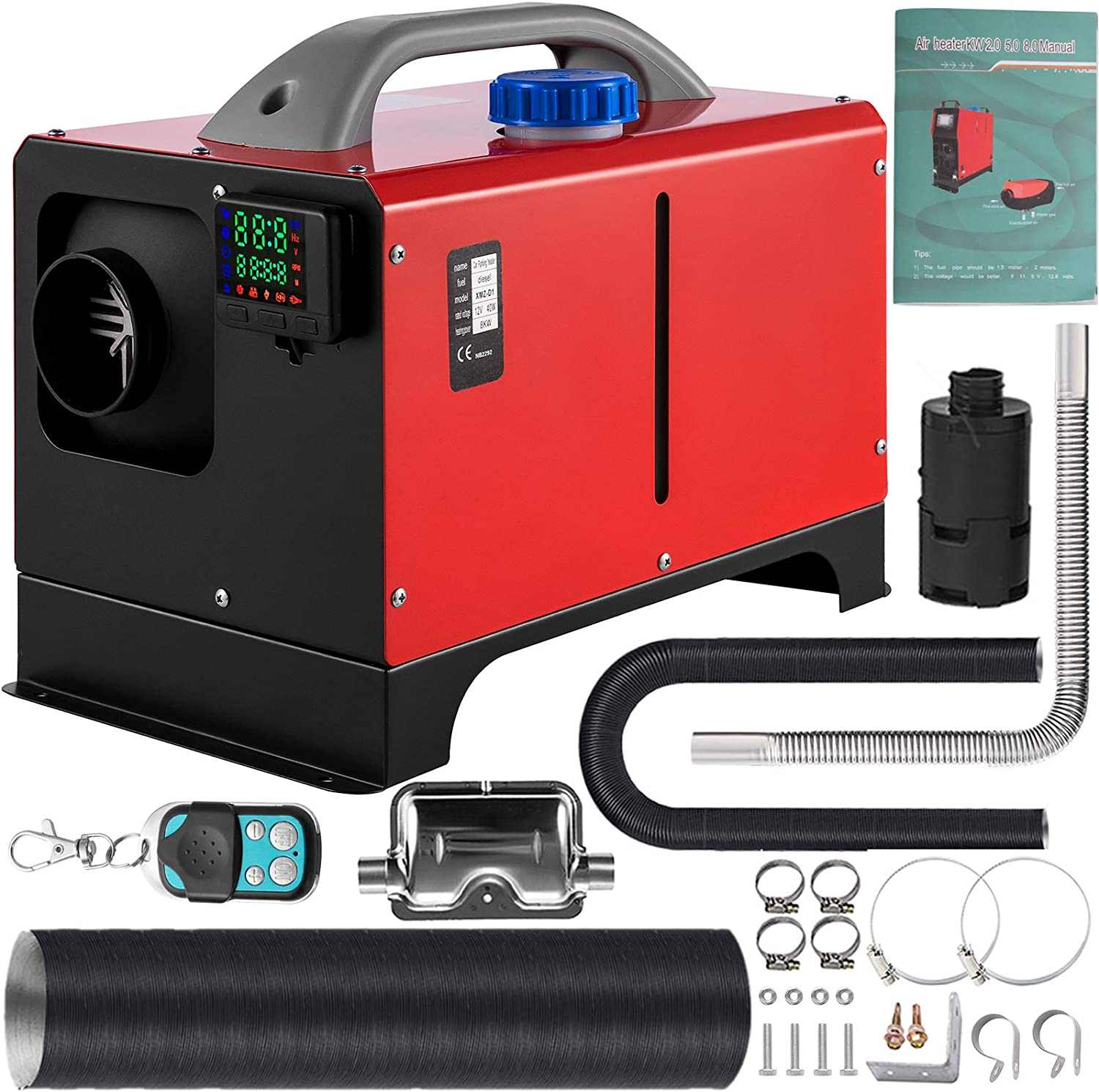 Parking Heater with Silencer Low Noise VEVOR 5KW 12V Diesel Parking Heater with LCD switch Diesel Heater with10L tank