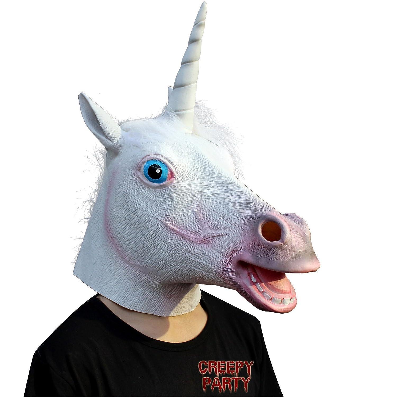 CreepyParty Deluxe Neuheit-Halloween-Kostüm-Party-Latex-Tierkopf-Schablone Einhorn ToyCentre