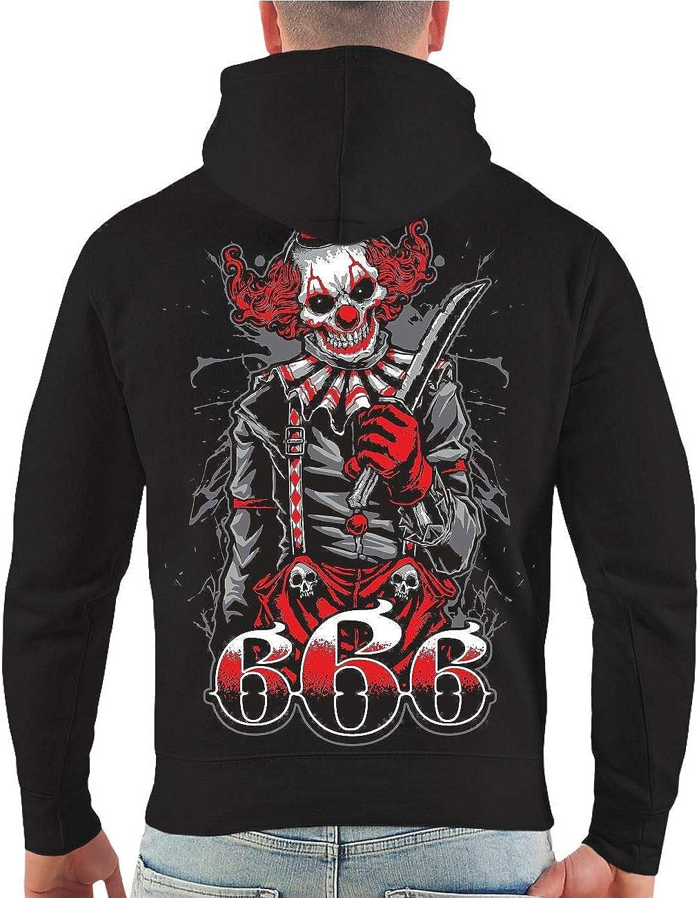 Life Is Pain Männer und Herren Kapuzenpullover Fuck The World 666 (mit Rückendruck) Größe S - 4XL Schwarz/Rote Kapuze