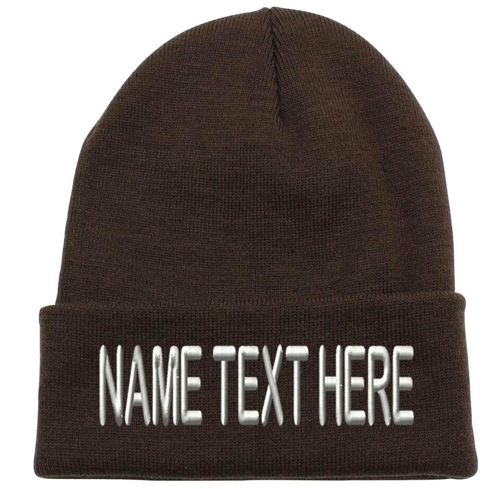 b87bcd9defa Caprobot iD Custom Embroidery Personalized Name Text Ski Toboggan Knit Cap  Cuffed Beanie Hat - Brown at Amazon Men s Clothing store