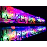 Flashing blue Happy 60th Birthday banner decoration FREE DELIVERY