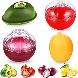 4 Pieces Food Savers Fruit Vegetable Shaped Food Savers Storage Box Onion Tomato Lemon Avocado Keeper/Saver/Holder Reusable Plastic Refrigerator Box Fresh Storage Bowls for Food Stays Fresh Longer
