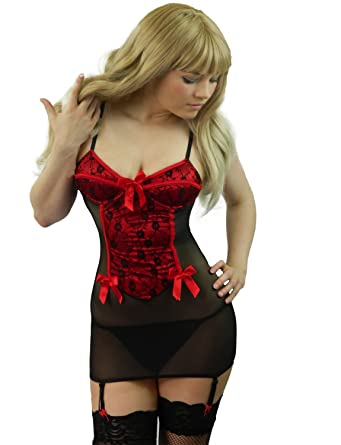 8f409e64474 Yummy Bee Plus Size Lingerie Lace Dress Babydoll Set Teddy with Suspenders  + Lace Top Stockings 8-24 Red  Amazon.co.uk  Clothing