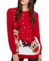 Red Olives® Womens Ladies Christmas Jumper Double Twin Rudolph Novelty Xmas Sweater Top UK 8-26