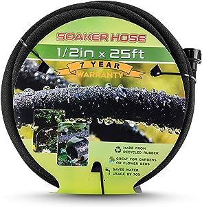 Soaker Hose for Garden, 1/2'' Soaker Hose 25 FT, Soaker Hoses 50 FT Heavy Duty Drip Hose Save 70% Water Garden Hose for Lawn, Garden (25 ft)