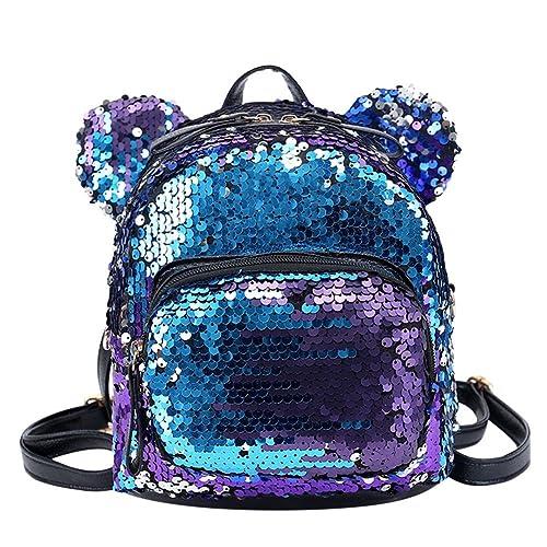 Zibuyu Shining Women Sequins Backpacks Teenage Girls Party Mini School Bags  Blue dcde5b70302f