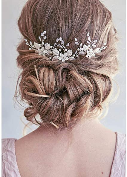 Unicra Bride Wedding Hair Pins Silver Flower Headpieces Bridal Hair  Accessories for Women and Girls(Pack of 10)