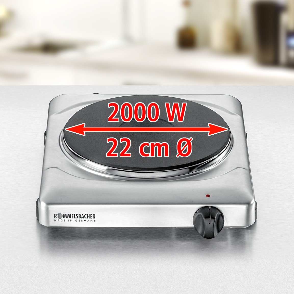 Rommelsbacher THS 2022/E Gastro - Cocina eléctrica portátil con un fuego (22 cm), acero: Amazon.es: Hogar