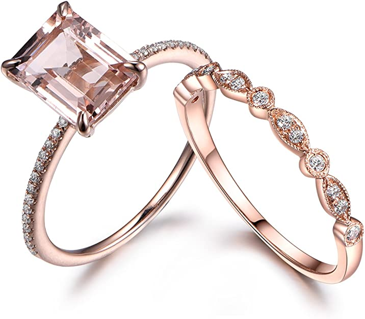 Oval Morganite Ring Set Engagement,Pink Sapphire 925 Silver Ring Milgrain Band Birthday Gift For Her Anniversary Bridal Set