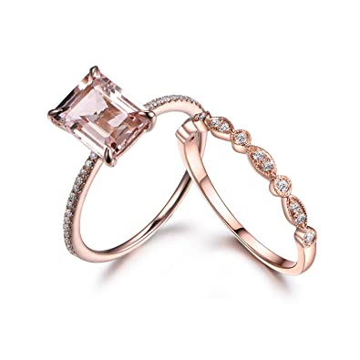 Amazon Com Emerald Cut Morganite Wedding Ring Set Diamond
