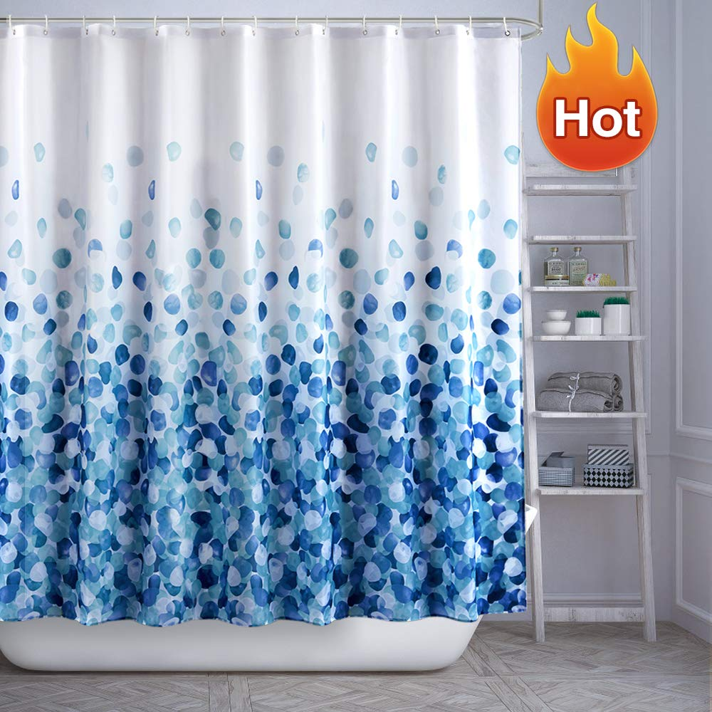 ARICHOMY Shower Curtain Set Bathroom Fabric Fall Curtains Waterproof Colorful Funny with Standard Size 72 by 72 (Blue) by ARICHOMY
